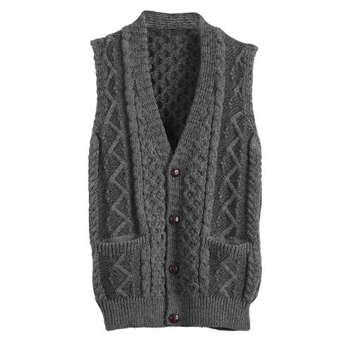 Men's Aran Waistcoat - Cable Knit Wool Button Down Sweater Vest - Gray
