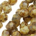 Czech Fire Polished Glass Beads 6mm Round Opaque White Picasso (25) - Thumbnail 0