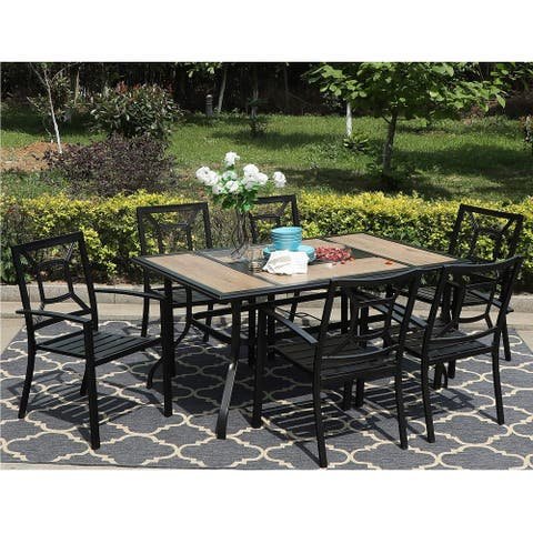 Sophia & William 7 Pieces Patio Dining Set with 6 Sunflower Steel Chairs and 1 Patio Umbrella Table