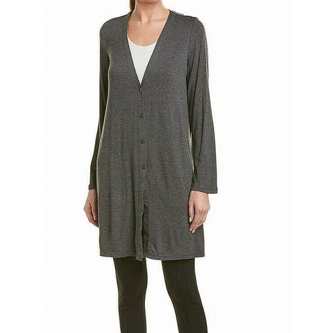Max Studio Women's Gray Size Small S V-Neck Longline Cardigan Sweater