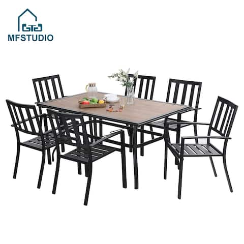 MFSTUDIO 7PCS Patio Dining Set, Large Rectangular Wood Like Top Table with 6 Metal Chairs