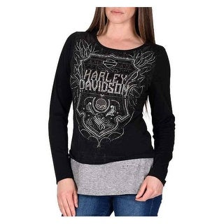 Harley-Davidson Women's Soul Shield Embellished Layered Long Sleeve Top, Black
