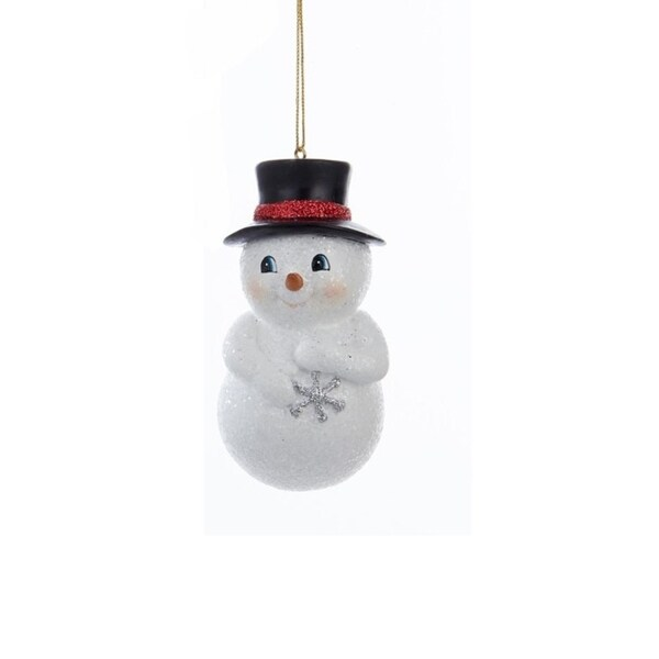 "3.75"" Decorative Chubby Snowman in Black Top Hat Hanging Christmas Ornament - WHITE"