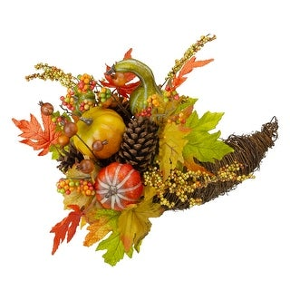 "18"" Autumn Harvest Gourds and Maple Leaf Cornucopia Decoration - N/A"