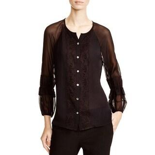 Diane Von Furstenberg Womens Blouse Silk Lace Trim