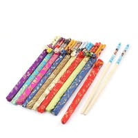 10 Pairs Colorful Chinese Style Wedding Bamboo Chopsticks Gift w Polyester Cover