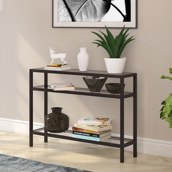Sivil Rectangular Contemporary Metal/Glass Console Table in Blackened Bronze. Opens flyout.