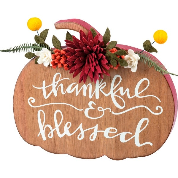 Thankful and Blessed Pumpkin Shaped Chunky Sitter Wood
