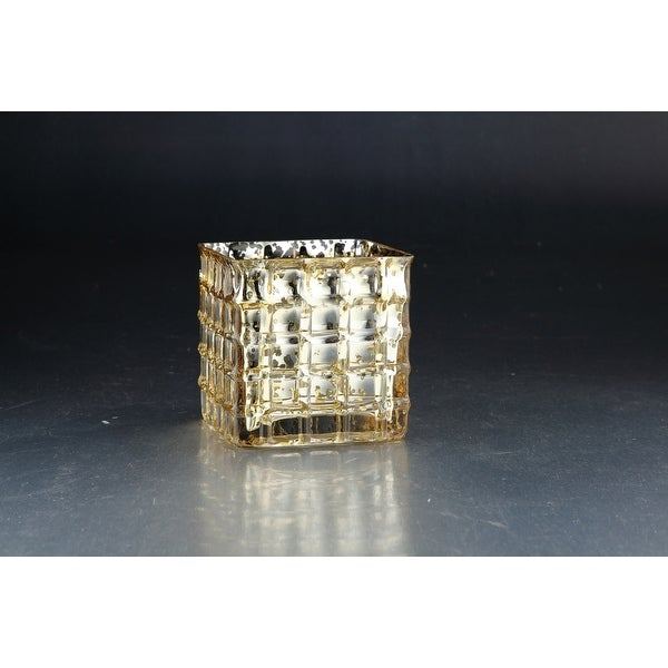 "4.5"" Gold and Silver Colored Glass Block Tea Light Candle Holder - N/A"