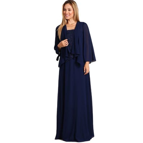 Fanny Fashion Womens Navy Lace Bodice Draped Cardigan Evening Gown