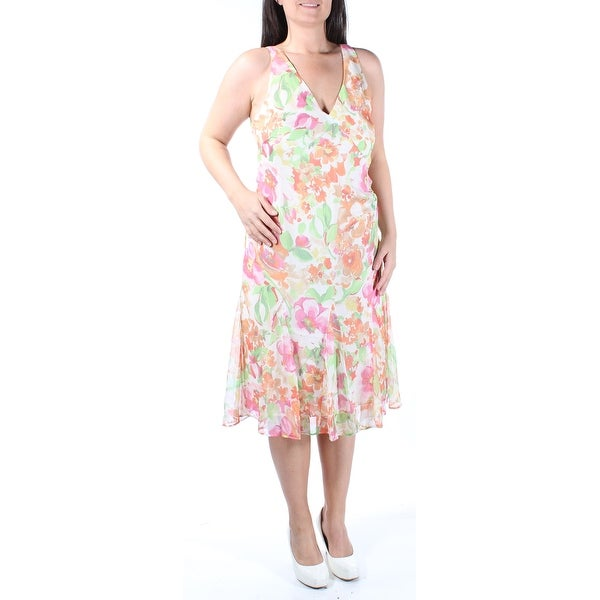 ee23f3bf00 Shop Womens Ivory Floral Sleeveless Below The Knee Drop Waist Dress Size   12 - Free Shipping On Orders Over  45 - Overstock - 22642522