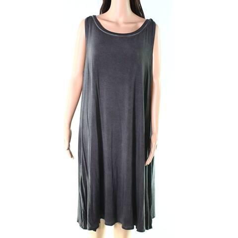 Cable & Gauge Gray Womens Size 1X Plus Sleeveless Shift Dress