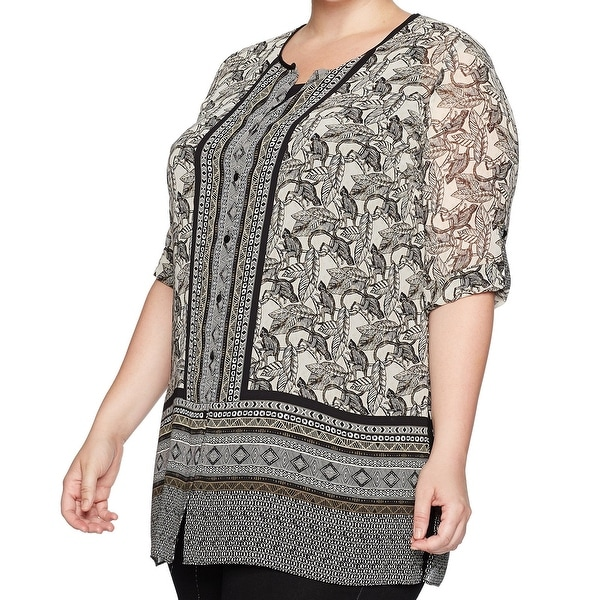 Nic + Zoe Black Beige Monkey Print Women's 3X Plus Tunic Blouse
