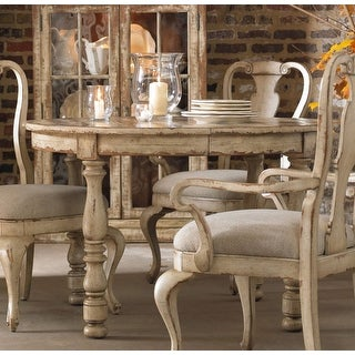 """Hooker Furniture 5004-75201  48"""" Diameter Hardwood Dining Table from the Wakefield Collection - Distressed Taupe White"""