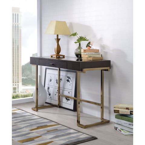 Tiramisubest Writing Desk in Espresso PU & Champagne