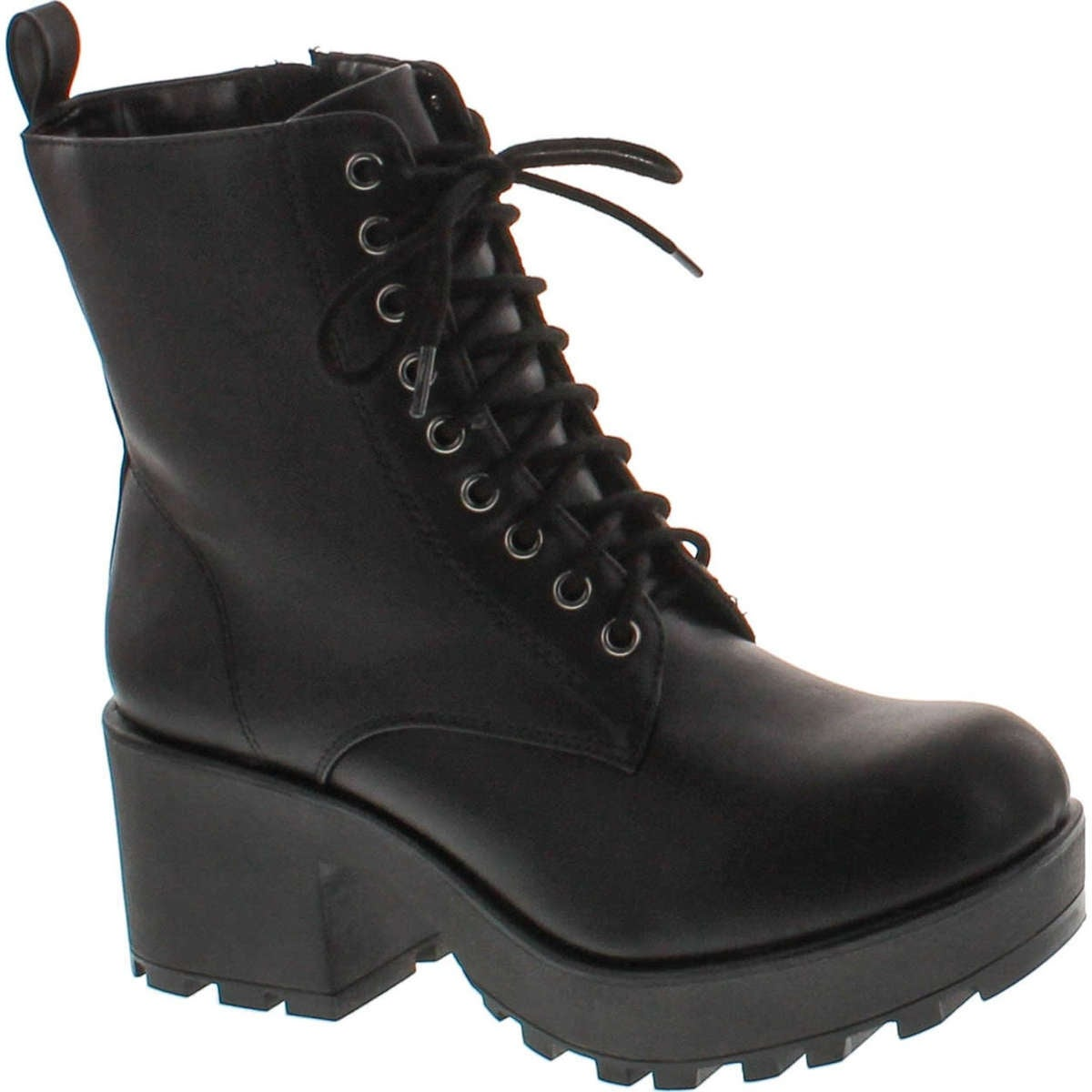 Soda Women\u0027s Magpie Faux Leather Lace,Up Combat Mid Heel Military Ankle  Boots , Black