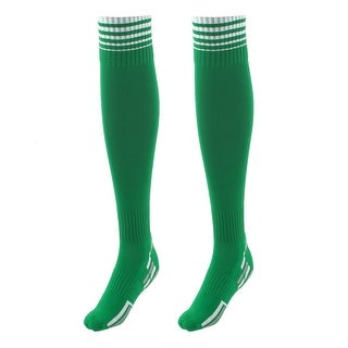 Unisex Anti Slip Stripe Pattern Elastic Football Soccer Long Socks Green Pair