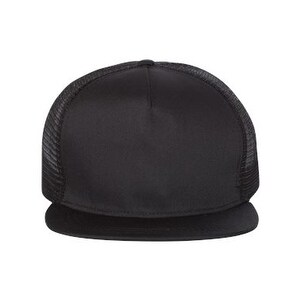 b573130fbcd77 Shop Flat Bill Five-Panel Trucker Cap - Black - One Size - Free Shipping On Orders  Over  45 - Overstock - 16246678
