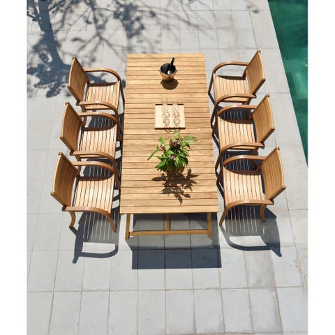Life Style Garden 7 Piece Teak Patio Dining Set - Brown Chairs