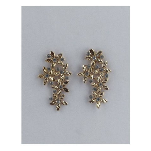 Long Floral Earring Studs W/Color Rhinestones - Color - Gold