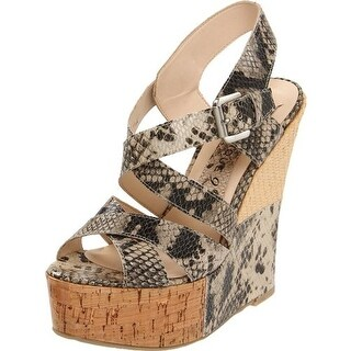 Boutique 9 Womens Faleen Leather Snake Print Wedges - 9.5 medium (b,m)