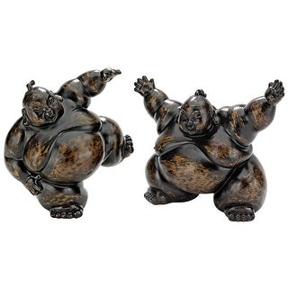 PAIR OF SUMO WRESTLER STATUES DESIGN TOSCANO sumo buddha belly wrestle sport