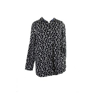 Charter Club Plus Size Black Printed Shirt 14W