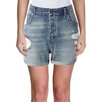 Scotch & Soda Womens Denim Shorts Distressed Cuffed