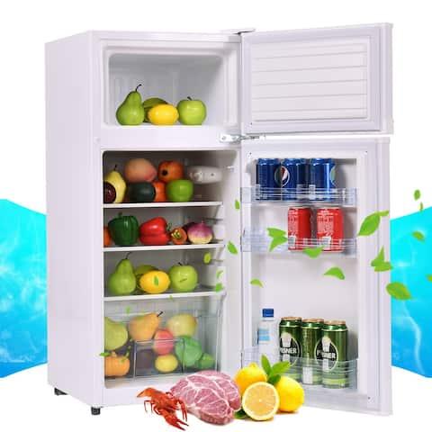 Costway 2 Doors 3.4 cu ft. Unit Compact Mini Refrigerator Freezer
