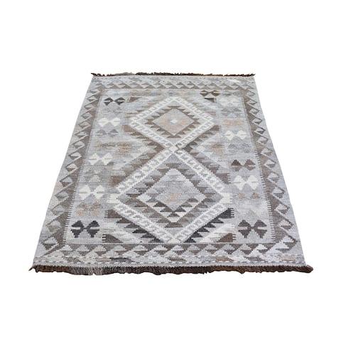 "Shahbanu Rugs Gray Undyed Natural Wool Afghan Kilim Reversible Hand Woven Oriental Rug (3'4"" x 5'0"") - 3'4"" x 5'0"""