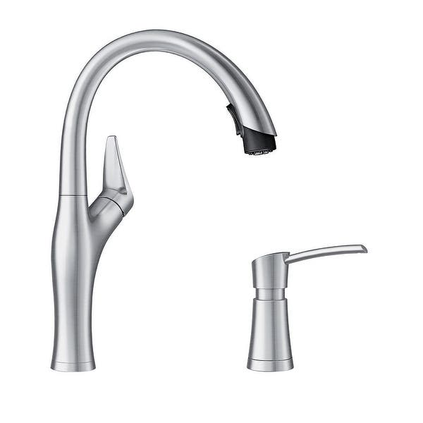 Blanco Kf 442029 Artona Pull Down Kitchen Faucet With Soap Dispenser 2 X 8 63 X 15 75 On Sale Overstock 31910195