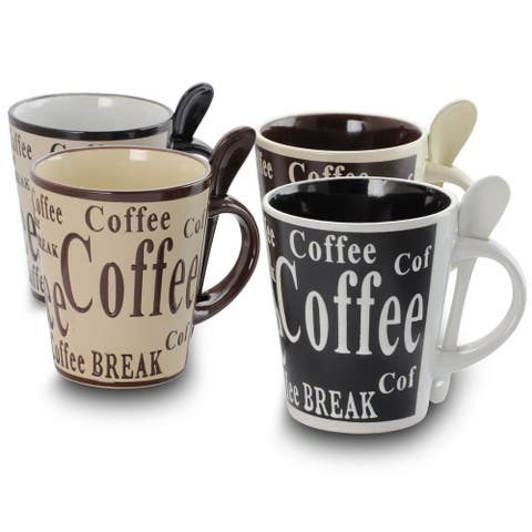 Gibson Bareggio 8 Piece 13 Ounce Coffee with Spoon Set