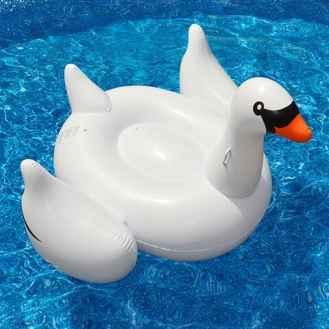 """75"""" Inflatable White and Black Giant Swan Swimming Pool Ride-On Float Toy"""