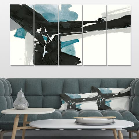 Designart 'Geometric Black and Teal III' Modern & Contemporary Canvas Artwork Print