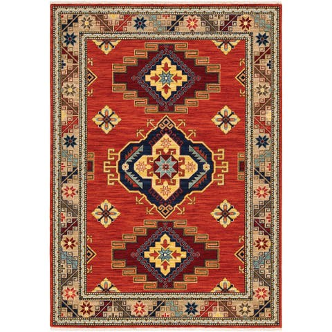 Leander Tribal Medallion Fringed Wool Blend Area Rug