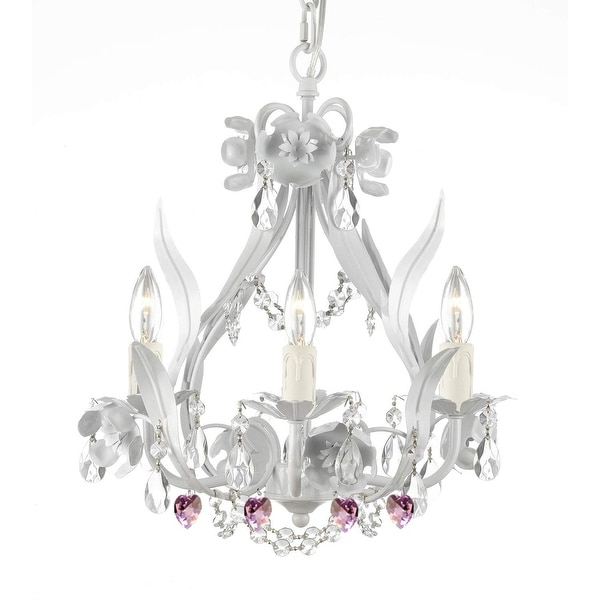 White Iron Crystal Flower Plug in Chandelier Lighting with Pink Crystal *Hearts*. Opens flyout.