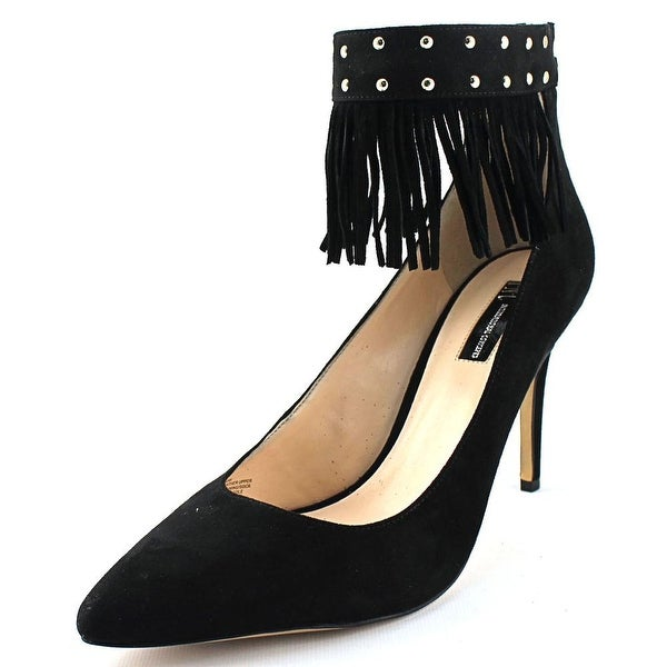 INC International Concepts Britanii Women Pointed Toe Suede Black Heels