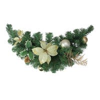 "28"" Gold Poinsettia and Pinecone Artificial Christmas Swag - Unlit - green"
