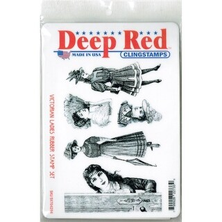 Deep Red Stamps Victorian Ladies Rubber Cling Stamp Set - 4 x 6