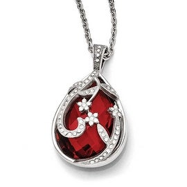 Chisel Stainless Steel Polished Red Glass and Crystal Reversible Necklace (2 mm) - 18 in