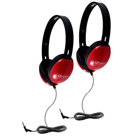 Primo Stereo Headphones, Red, Pack of 2