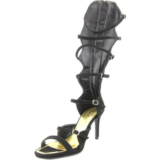 Qupid Lagoon-09 Women Open Toe Leather Black Gladiator Sandal