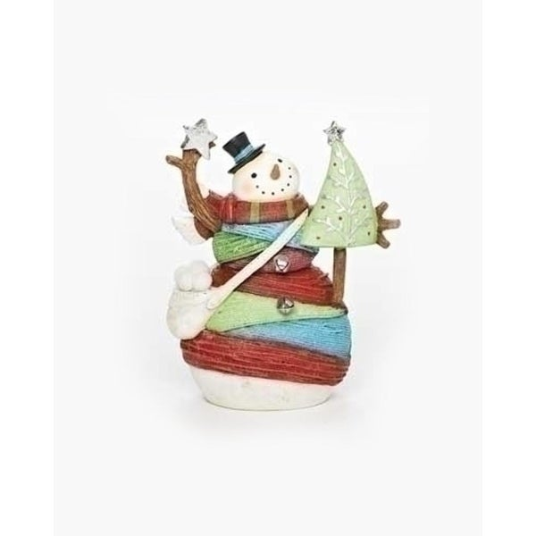"6.75"" Vibrant Colorful Striped Yarn Wrapped Snowman with Tree Christmas Figure"