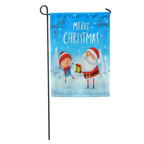 Merry Christmas Santa Claus Giving To Kid In Snow Scene Garden Flag Decorative Flag House Banner 28x40 Inch On Sale Overstock 31346036