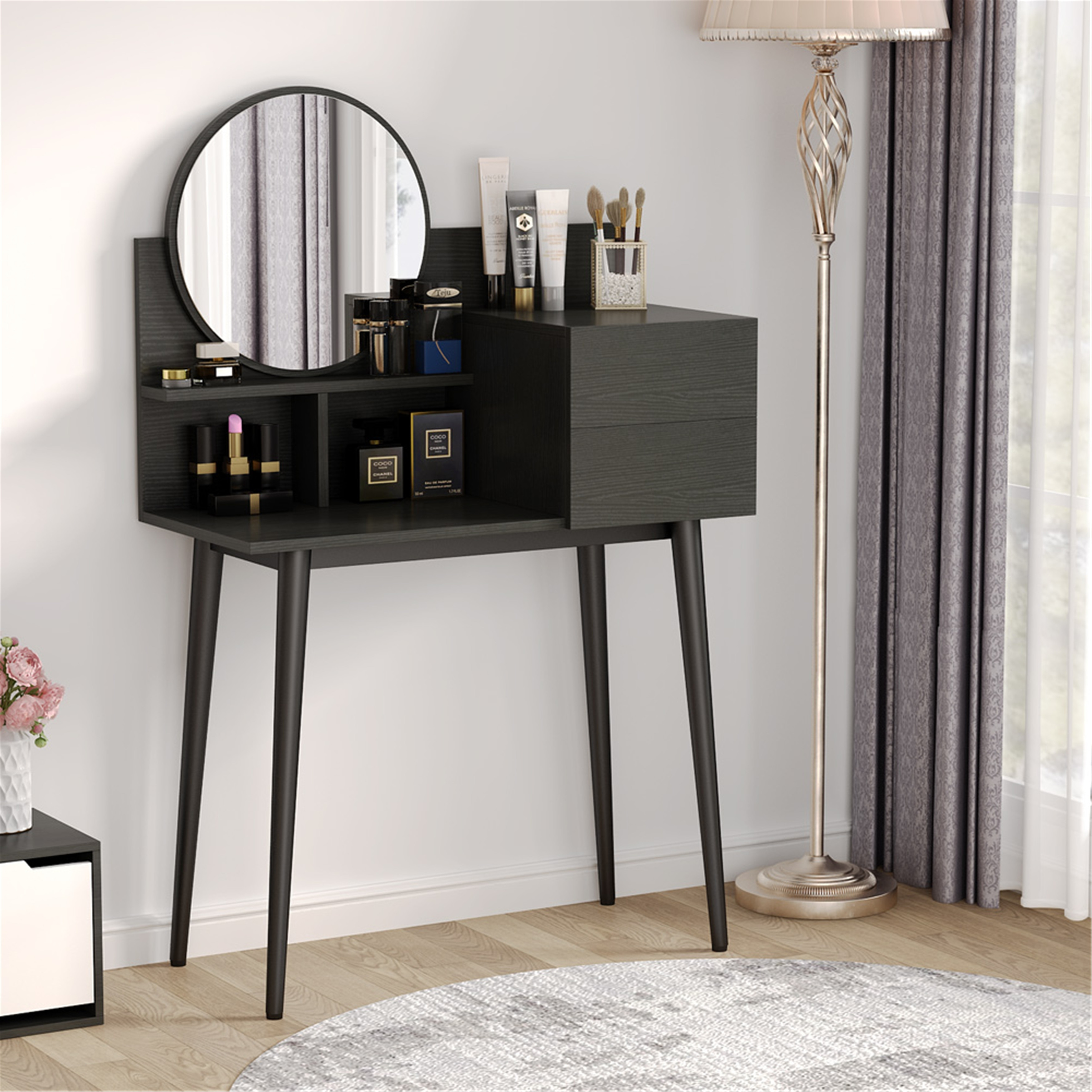 Small Vanity Table Corner Makeup Table With Round Mirror Overstock 32188632