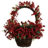 """22"""" Country Rustic Red Rosehip Berries and Vines Decorative Christmas Wall Basket"""