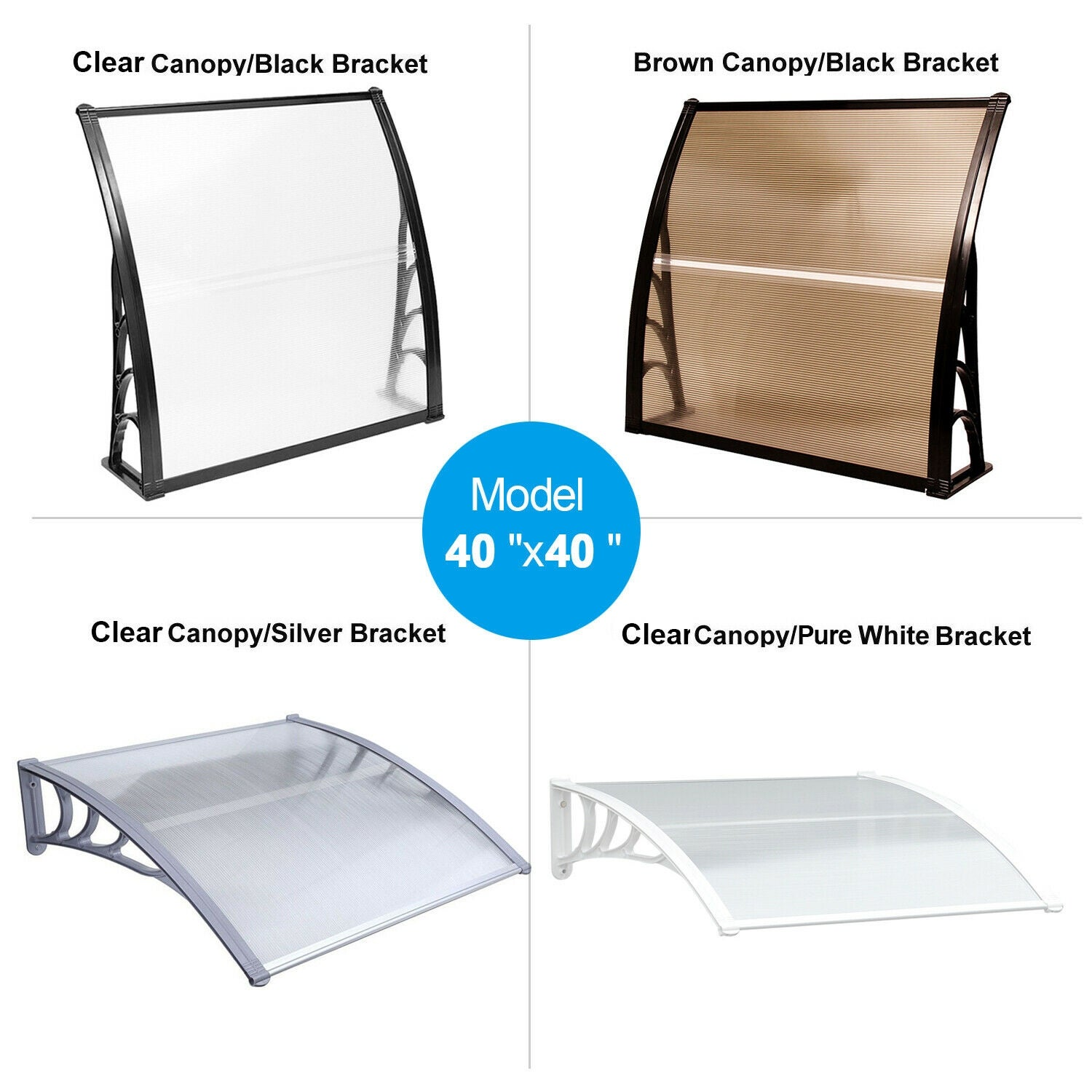 MCombo 40×40 FT Window Awning Polycarbonate Cover - 38.6(W)x 39(L) x 11(H) (Black)