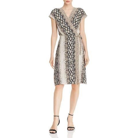 Joie Womens Bethwyn C Wrap Dress Snake Print Casual - Porcelain - S