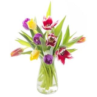 KaBloom - Splendid Tulip Collection - 10 Assorted Red, Orange, Purple & Yellow Tulips with Vase
