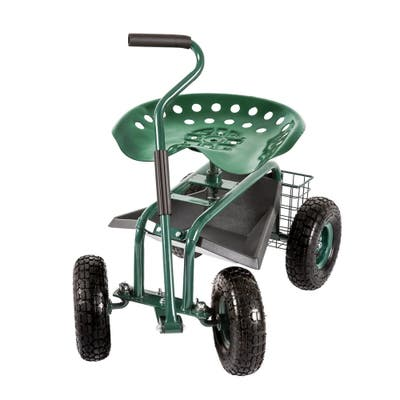 Kinbor Garden Cart Rolling Work Seat Patio Wagon Scooter w/ Extendable Steer Handle, Tool Tray